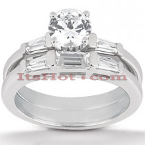 14K Gold Diamond Designer Engagement Ring Set 1.13ct