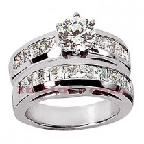 14K Gold Diamond Designer Engagement Ring Set 2.30ct