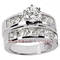 14K Gold Diamond Designer Engagement Ring Set 2.42ct