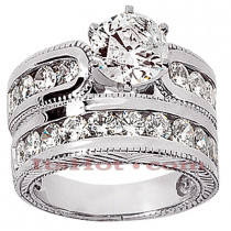 14K Gold Diamond Designer Engagement Ring Set 2.50ct