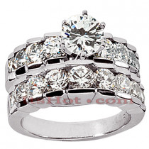 14K Gold Diamond Designer Engagement Ring Set 2.73ct