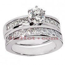 14K Gold Diamond Designer Engagement Ring Set 2.88ct