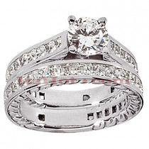 14K Gold Diamond Designer Engagement Ring Set 2.95ct