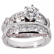 14K Gold Diamond Designer Engagement Ring Set 3.22ct