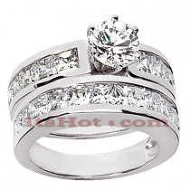 14K Gold Diamond Designer Engagement Ring Set 3.94ct