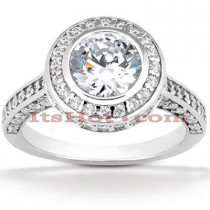 Halo 14K Gold Diamond Engagement Ring Mounting 0.94ct
