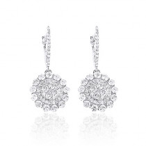 14K Gold Diamond Flower Earrings 1.75ct