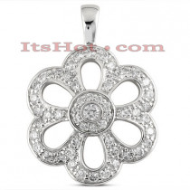 14K Gold Diamond Flower Pendant 1.02ct