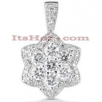 14K Gold Diamond Flower Pendant 2.29ct