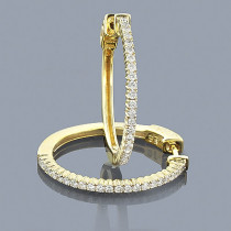 14K Gold Diamond Hoop Earrings 0.64ct
