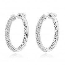 14K Gold Diamond Hoop Earrings 1.75ct