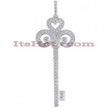 14K Gold Diamond Key Pendant 1.09ct