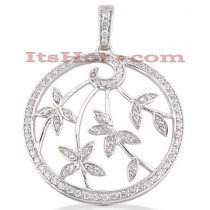 14K Gold Diamond Leaf Pendant Circle Necklace 0.54ct