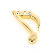 14K Gold Diamond Musical Note Pendant 0.03ct
