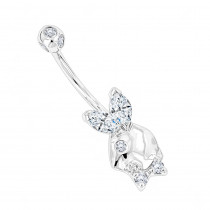 14K Gold Diamond Playboy Belly Button Ring 1.06ct