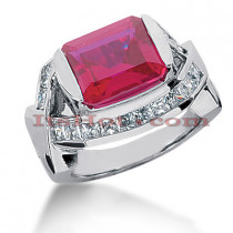 14K Gold Diamond Ring with Ruby 5ctr 1.00ctd