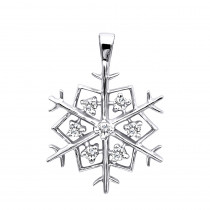 14K Gold Diamond Snowflake Pendant 0.21ct