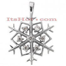 14K Gold Diamond Snowflake Pendant 0.35ct