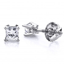 1/2 Carat 14K Gold Diamond Stud Earrings Princess Diamonds .5ct