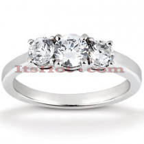 Thin 14K Gold Diamond Three Stone Engagement Ring 0.35ct
