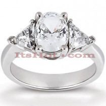 Thin 14K Gold Diamond Three Stone Engagement Ring 0.80ct