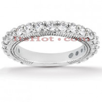 Thin 14K Gold Diamond Unique Engagement Band 1.15ct