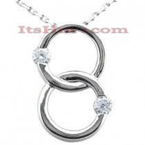 14K Gold Double Circle Diamond Pendant 1.00ct