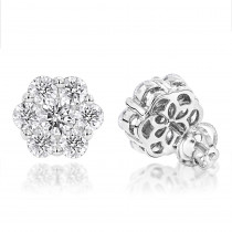 14K Gold Earrings Round Diamond Clusters 3.5ct
