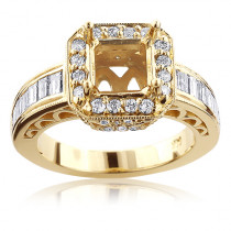 14K Gold Halo Engagement Ring Mounting 2.61ct Diamond Setting