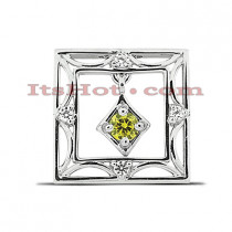 14K Gold Hollow Square Pendant 0.41ct