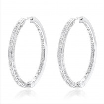 14K Gold Inside Out Diamond Hoop Earrings for Women 1 Carat by Luxurman
