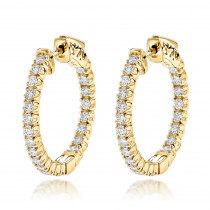 14K Gold Inside Out Diamond Hoop Earrings for Women 1.3ct 3/4in by Luxurman