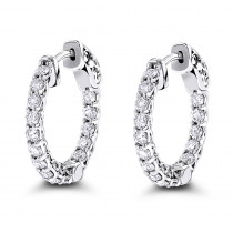 14K Gold Inside Out Diamond Hoop Earrings for Women 1.5ct