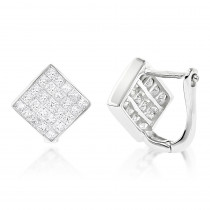 14K Gold Invisible Princess Cut Diamond Earrings 1.45ct
