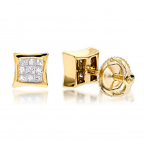 14K Gold Invisible Set Diamond Stud Earrings 0.28ct