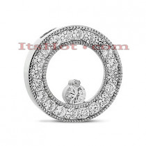 14K Gold Ladies Circle Diamond Pendant 0.80ct