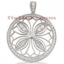 14K Gold Ladies Circle Diamond Pendant 1.88ct
