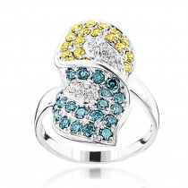 14K Gold Ladies Designer Yellow White Blue Diamond Ring 1.82ct