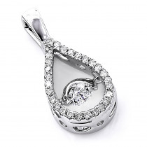 14K Gold Ladies Pave-set  Teardrop Shaped Dancing Diamond Pendant 0.35ct.
