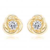 14K Gold Love Knot Diamond Earrings Solitaire Studs 1.4ct