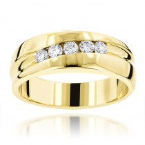 14K Gold Male Engagement Rings Collection Piece 0.44ct 5 Stone Comfort Fit