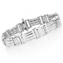 14K or 10K Gold Mens Baguette Diamond Bracelet 7.95ct