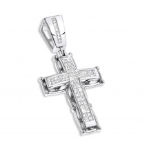 14K Gold Mens Cross Pendant w Princess Diamonds 1 ct