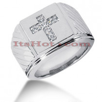 14K Gold Mens Diamond Cross Ring 0.23ct