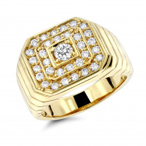 14K Gold Mens Diamond Ring 1.31ct by Luxurman