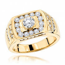 14K Gold Men's Diamond Ring 1.86ct
