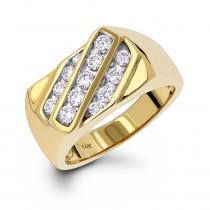 14K Gold Men's Diamond Ring 1ct