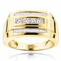 14K Gold Mens Diamond Ring Baguette and Round 0.8ct