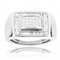 14k Gold Men's Diamond Ring Princess Baguettes 1.4ct