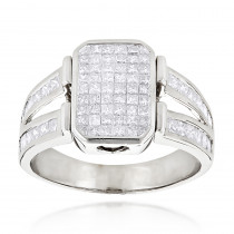 14K Gold Mens Diamond Ring Princess Cut Diamonds 2.53
